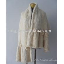 Châle de fourrure de vison de couleur blanche tricoté à la main