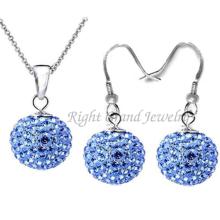 Shamballa Jewelry Sets Rhinestone Balls Shamballa Earrings Ear Stud & Necklace Pendant Set