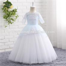 2017 Aliexpress venta caliente de alta calidad nuevo diseño tulle niña de las flores vestido de manga corta niñas vestido de novia