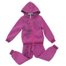 Flower Girl Cardigan Fleece Suit with Hood in Children Clothing Sport Wear (SWG-122)