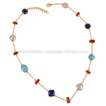 Arizona Turquoise Lapis Coral Stick & Pearl Multi Shapes Gemstone with Sterling Silver Necklace