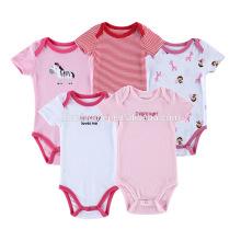 High quality Light Color 3,5 Set Short Sleeve One-piece Toddler Cotton Romper Newborn Baby Girls Bodysuits