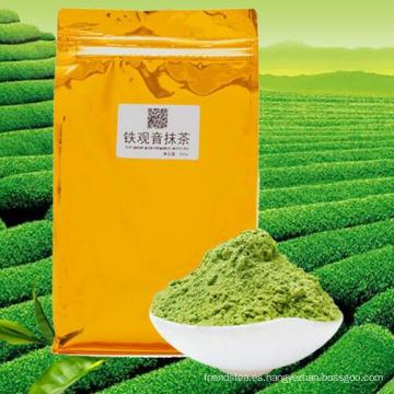 Envasado al vacío de polvo de té verde Guanyin Matcha Tie