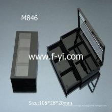 Rectángulo Negro Dos capas Contenedores cosméticos Plástico Empty Eyeshadow Palette