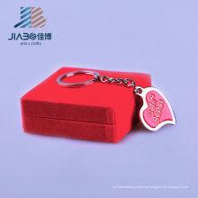 Muestra gratis en forma de corazón en forma de corazón plata en relieve personalizada llavero colgante