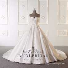 Wholesale Luxury Embroidered Beautiful Pictures Wedding Gown Strapless Satin Ball Gown White