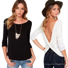Fashion Deep V-Neck Sexy Blackless Cheap Women Long Sleeve T-Shirt