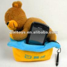 cute plush sleep teddy bear toy mobile phone holder