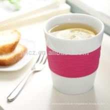 Satz von 4 280cc Keramik Kaffeetasse Silikonband