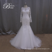 Manga longa laço fino de sereia vestido de casamento vestido de noiva