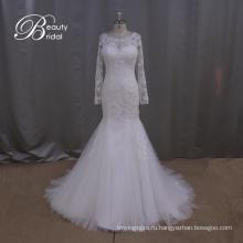 Длинный рукав кружева тонкий Русалка свадебное платье свадебное платье