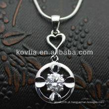 Dubai mais quente CZ diamante 925 pingentes de prata esterlina