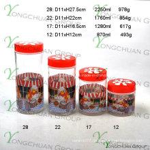 4PCS Glas-Kanister eingestellt mit Blumen-Plastikdeckel und Küche-Kocher-Abziehbild