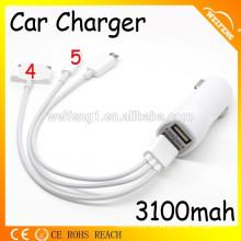 4 en 1 cable del USB para el cargador móvil / dual del coche del USB