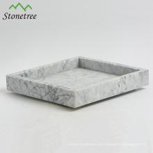 Eleganter natürlicher Carrara-Marmortablett mit populärem Design