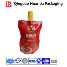 Plástico fabricado personalizado / metalizado / bolsa del canalón de la hoja para la salsa de tomate / la mayonesa