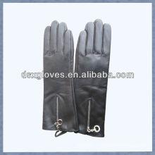 Guantes de cuero con cremallera color negro