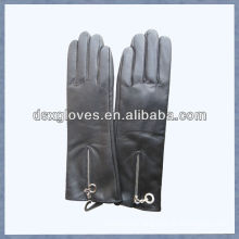 leather gloves with zipper black color