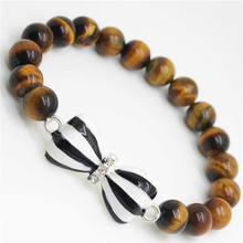 Yellow Tiger eye Gemstone Bracelet with Diamante bow tie Alloy Piece