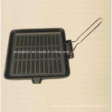 Квадратная предсезонная чугунная сковорода Размер 24X24cm