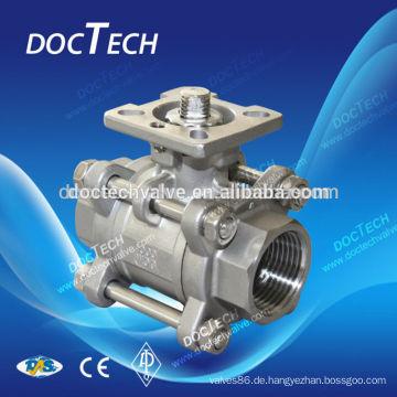 3PC hohen Plattform Innengewinde Kugelhahn Carbon Stahl: ASTM A216 WCB; CF8(SS304),CF8M(SS316);