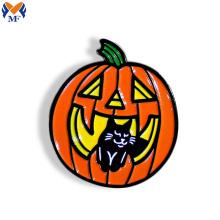 Custom Pumpkin Black Cat Logo Enamel Pin
