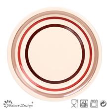 Handpainted Round Circle Stoneware Dinner Plate