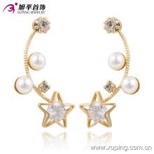 91229 encanto de moda lujo CZ diamante 18k color oro joyería de imitación pendiente con estrellas y perlas