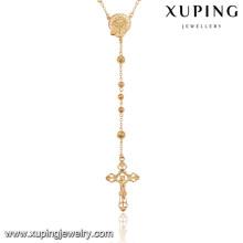 43062 Xuping joyas de moda chapado en oro cruz religiosa 18k collar de rosario