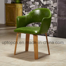 Wooden Restaurant Chair with Olive Green Backrest and Upholstery (SP-EC862)