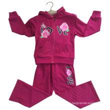 Traje del paño grueso y suave del cardigan de la muchacha de flor con la capilla en ropa de los niños Ropa del deporte (SWG-121)