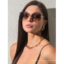 Fashionable Rimless Trimming Sunglasses with Large Polygonal Frames