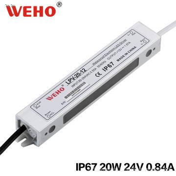 IP67 tensión constante 20W 24V 0.83A fuente de alimentación a prueba de agua