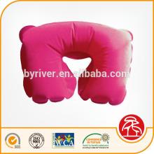 Rosa inflável flocado travesseiro de pescoço de praia/saltar/água/viagens