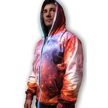 Lyserød 3D Galaxy Lights Up-sweatshirt