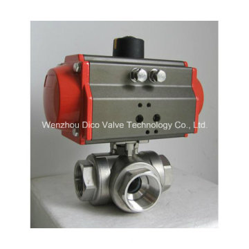 Pneumatischer Antrieb Dreiwege-Kugelhahn mit ISO-Montageplatte