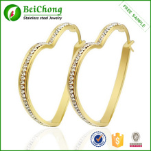 Gold plated fashion earring made of stainless steel