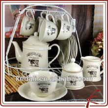 Taza de té de cerámica y soporte de platillo