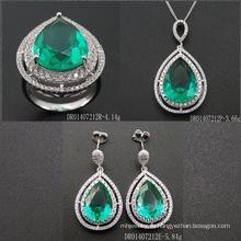 Luxury Sterling Silver Drop Shape Green Spinel Set