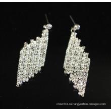 Высокое качество поощрения Люкс Элегантный серебро висит кристалл серьги Стад