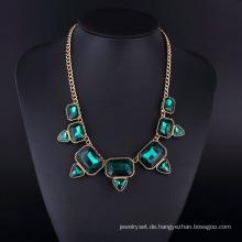 Emerald Crystal Plating Gun Schwarz Böhmen Halskette Hln16825