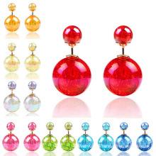 Earings für Frau Mädchen doppelseitige Farben Crystal Ball zwei endet Ohrstecker