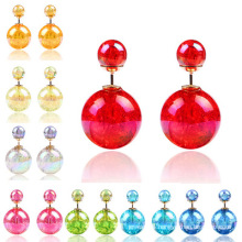 Earings for Woman Girls Double Sided Colors Crystal Ball Two Ends Studs Earring