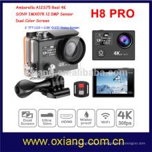 Датчик ambarella А12 Ультра HD 4К 30 кадров в секунду / 120 кадров в секунду с разрешением 1080p Водонепроницаемый Спорт действий камеры H8R Pro с беспроводной пульт дистанционного двойной экран смотреть