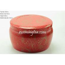 Flor Vivid roja grande que forma el envase redondo de la lata para Matcha