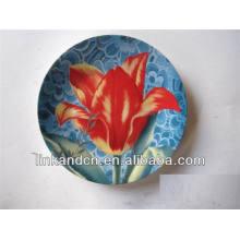 ¡Venta caliente! Platos de cerámica redondos de la fruta / caramelo de la flor roja fina