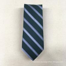 Barato etiqueta privada Minion poliéster jacquard Meadan verde raya para hombre novedad corbata