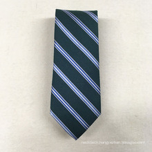 Cheap Private Label Minion Polyester Jacquard Meadan Green Stripe Mens Novelty Tie