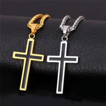 Collier pour hommes bijoux inox 316L acier inoxydable 18K plaqué or Croix religieuse Christian Black croix pendentif