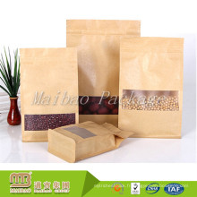 Le papier kraft matériel stratifié par emballage zip-lock adapté aux besoins du client de catégorie comestible met en sac la poche inférieure de fond avec la fenêtre